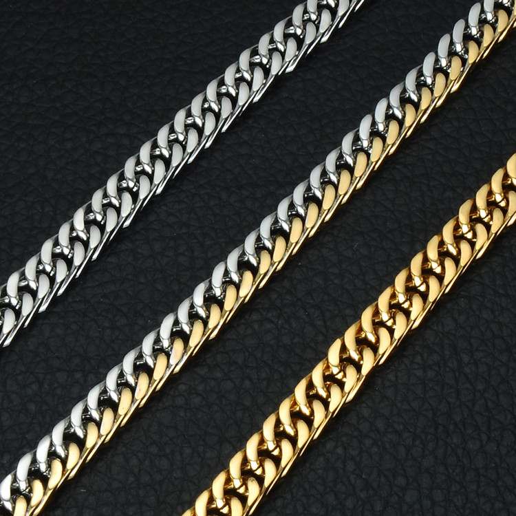 Mens Two Tone 14k Gold Titanium Stainless Steel Thick Cuban Link Chain