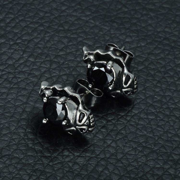 Mens Black Simulated Diamond Skeleton Skull Stainless Steel Earrings