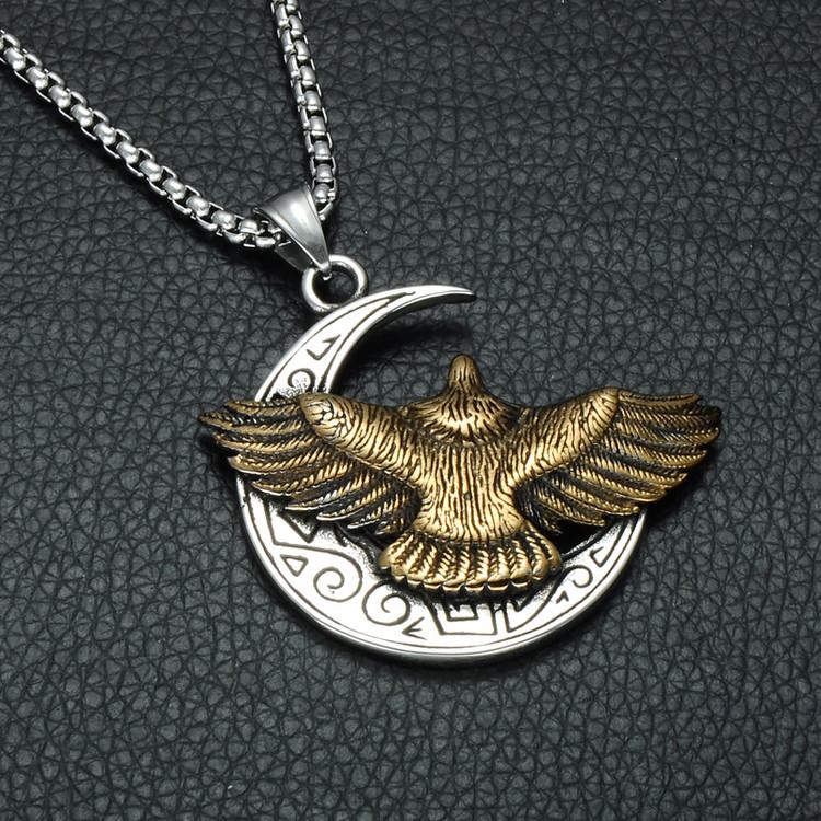 Mens Two Tone Titanium Stainless Steel Aztec Eagle Half Moon Chain Pendant