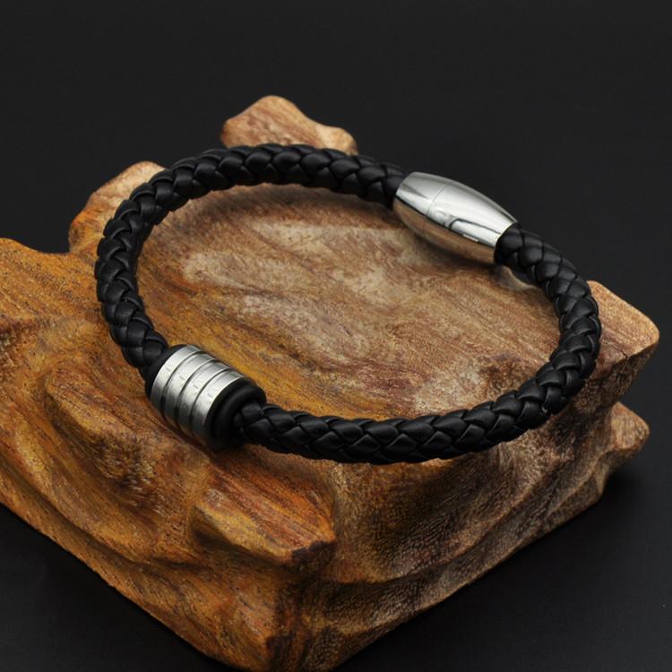 Black Knit Genuine Leather Mens Stainless Steel Magnet Bead Bracelet