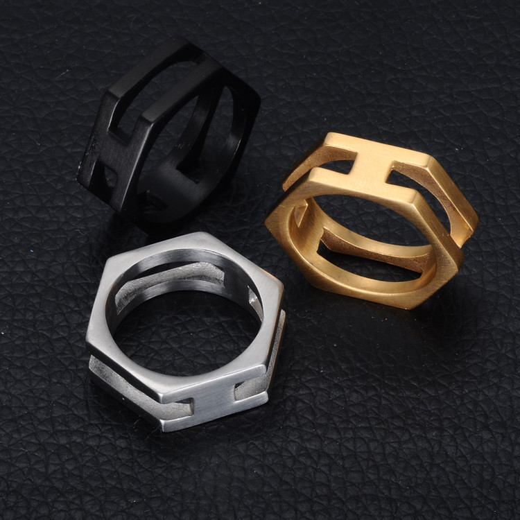 14 Gold Black Color Titanium Stainless Steel Hexagonal Unique Ring