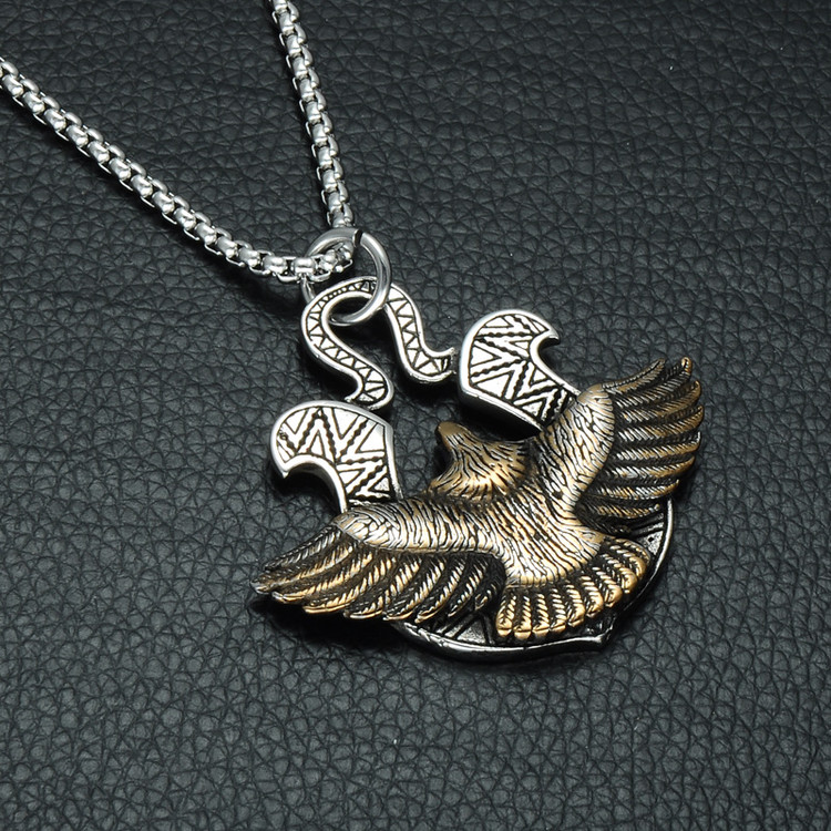 Two Tone Titanium Stainless Steel Aztec Soaring Eagle Chain Necklace Pendant