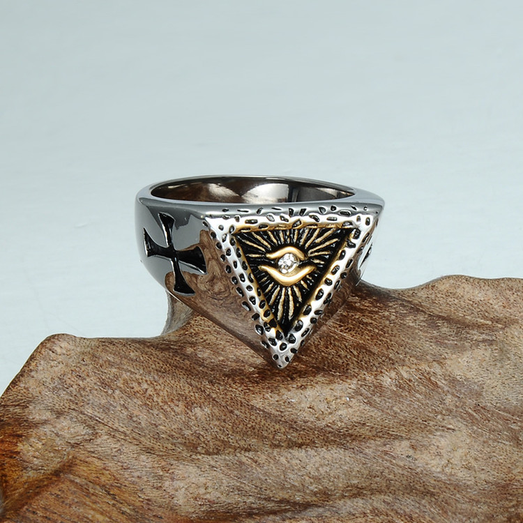 Mens Triangle Titanium Stainless Steel Illuminati Pyramid Eye Symbol Ring
