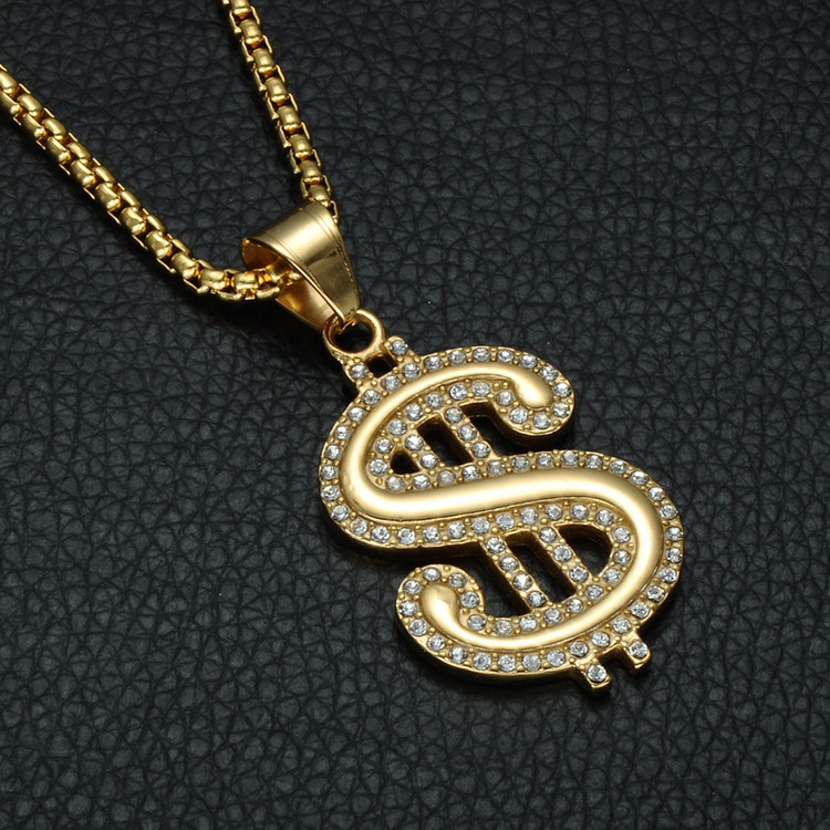Hip Hop 14k Gold Micro Pave Simulated Diamond Stainless Steel Dollar Sign Hip Hop Pendant