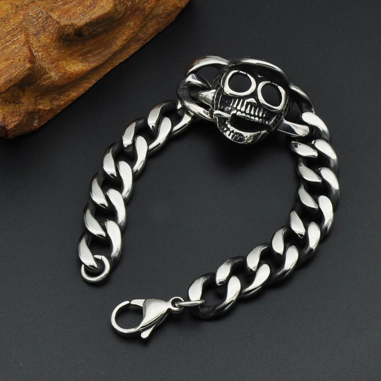 Stainless Steel Silver Skull Gang Smoking Cigar Cuban Link Bracelet