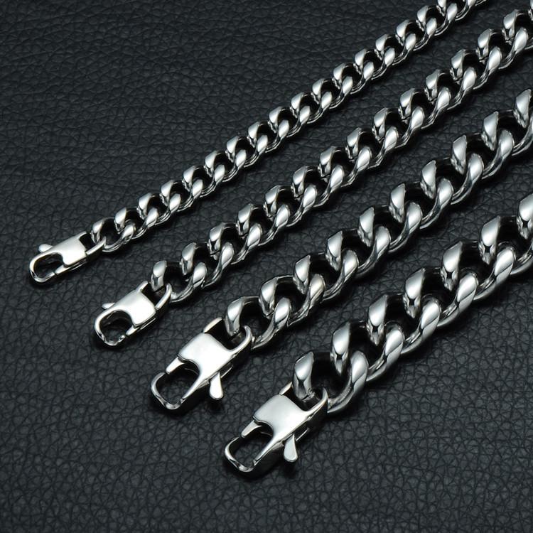 Mens Silver Titanium Steel Miami Cuban Link Bracelet