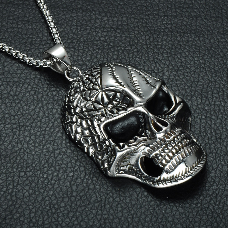 Mens Hip Hop 42MM Skeleton Skull Gang Biker Boy Stainless Steel Pendant