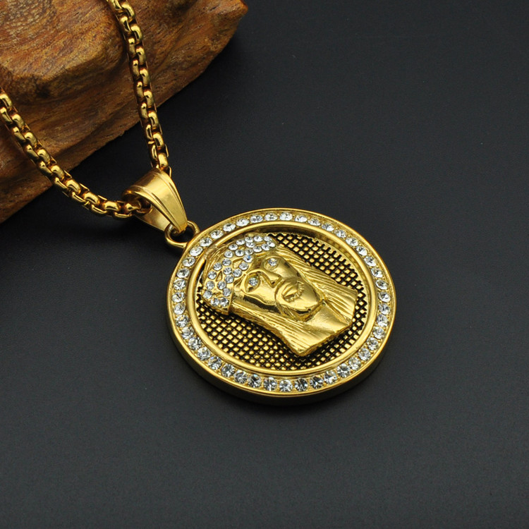14k Gold Micro Pave Lab Diamond Titanium Stainless Steel Iced Out Bling Jesus Piece Chain