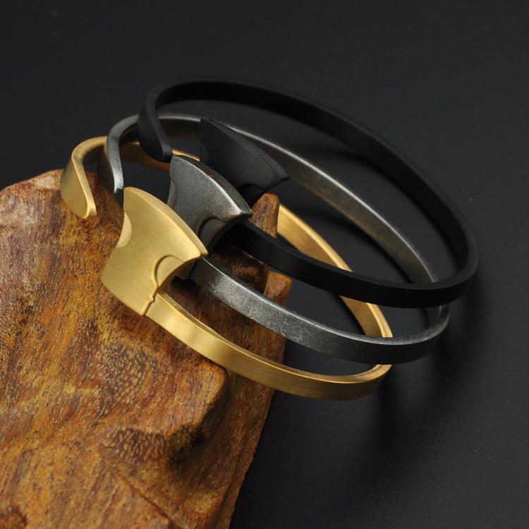Mens Classic Design AX Shape 14k Gold Stainless Steel Open Cuff Bracelet