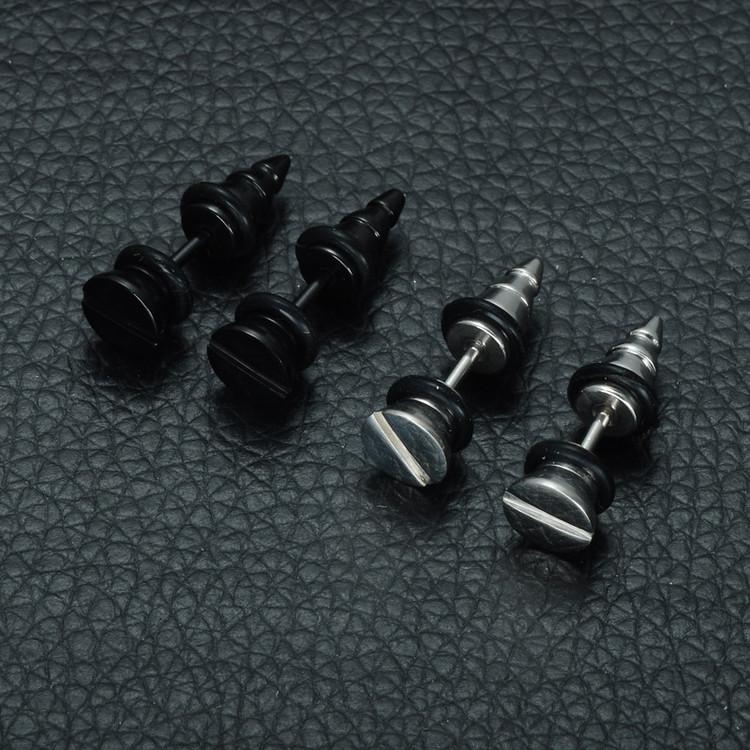 Mens Flathead Screw Style Earrings Stainless Steel Earrings