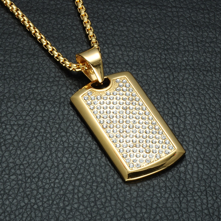 Iced Out Lab Diamond Titanium Stainless Steel Hip Hop Bling Dog Tag Chain Pendant