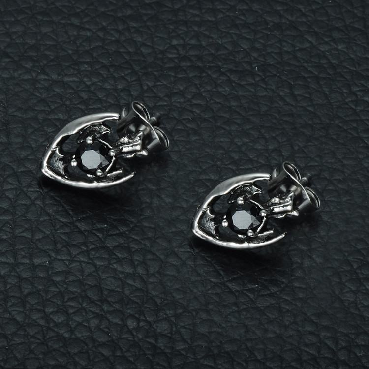 Mens Cross Shield Simulated Diamond Stud Stainless Steel Earrings