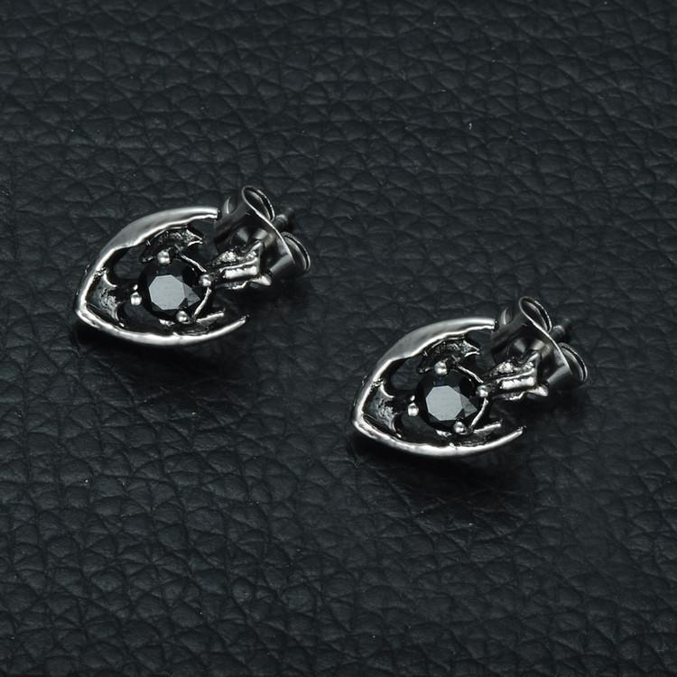 Mens Cross Shield Simulated Diamond Stud Stainless Steel Earrings