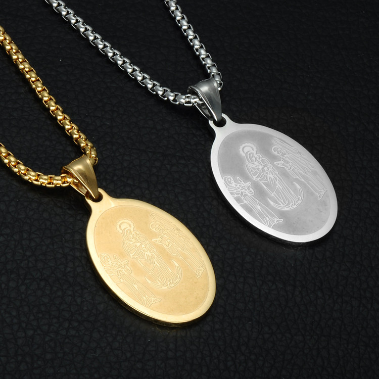 14k Gold Titanium Stainless Steel Patron Saint St. Benedict Holy Medal Pendant Chain Necklace