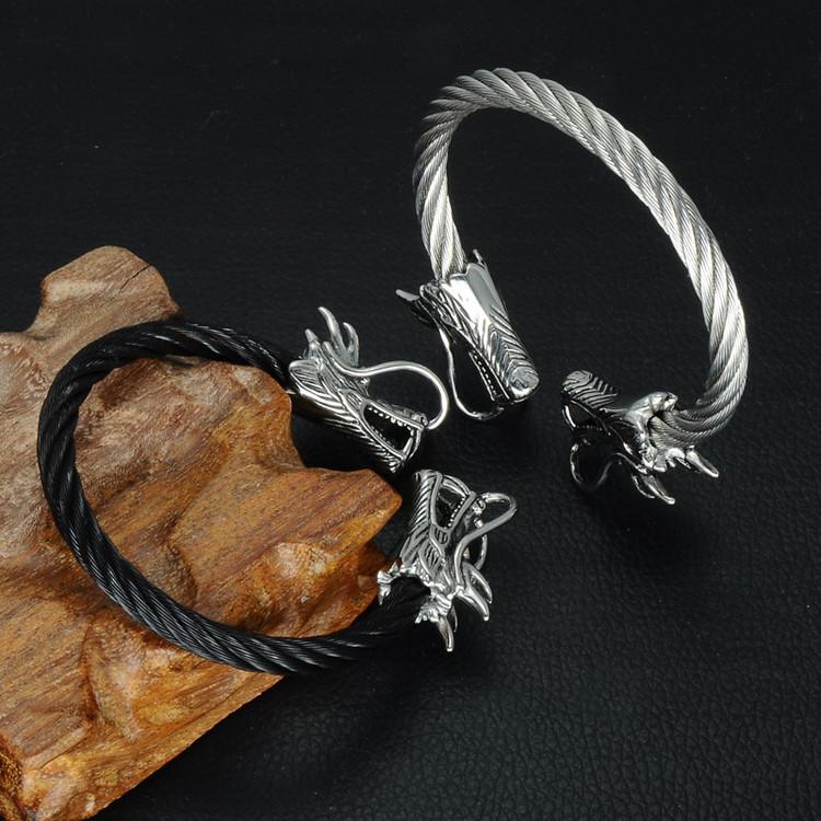 Men's Black Double Dragon Heads Stainless Steel Bling Adjustable Bracelet