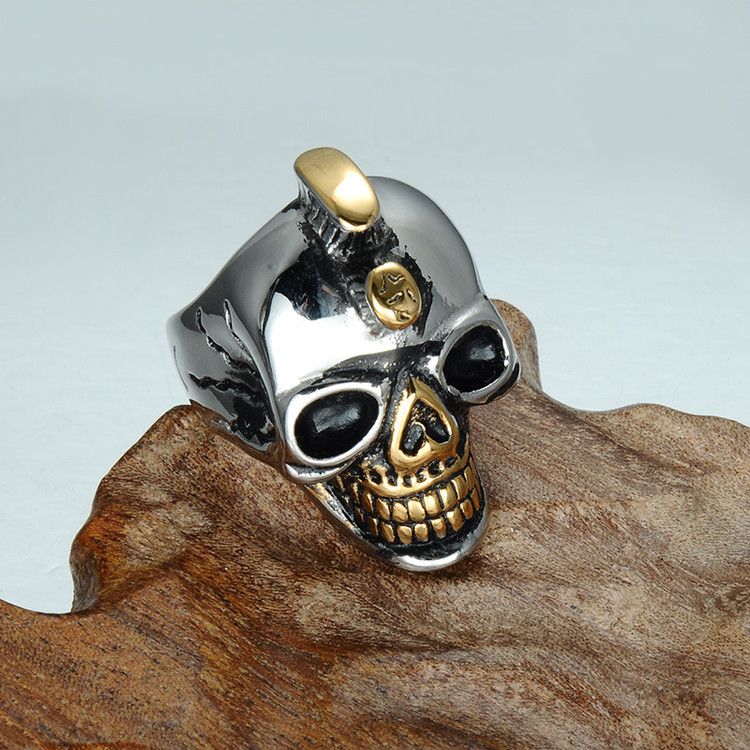 Mens Gold Accent Titanium Stainless Steel Mohawk Skeleton Skull Ring