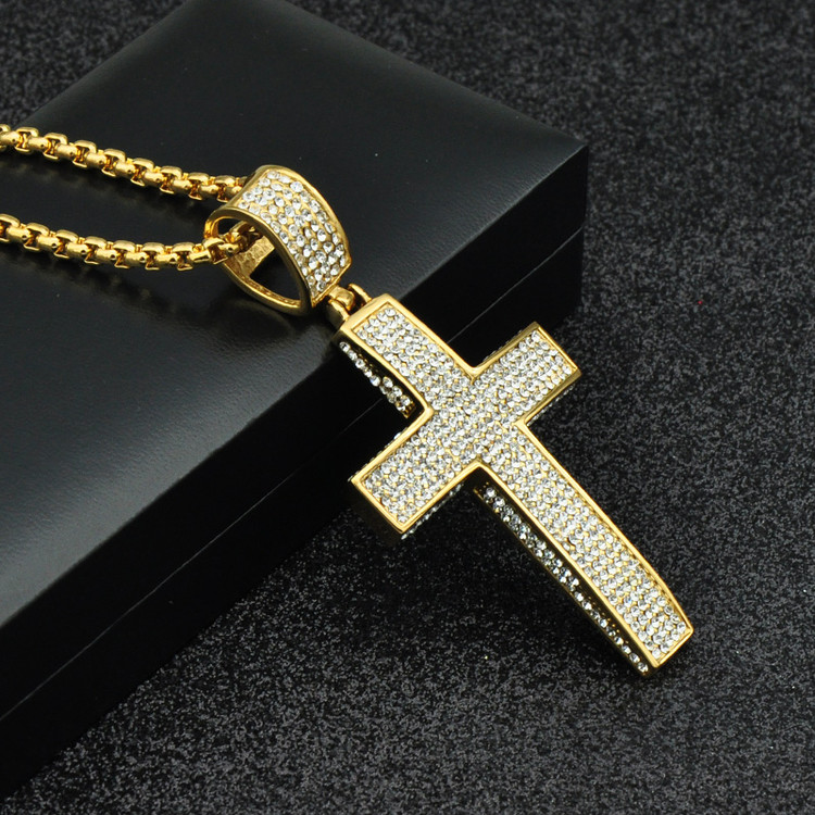 Hip Hop 14k Gold Titanium Stainless Steel 5 Row Micro Pave Lad Diamond Iced Out Bling Cross Pendant