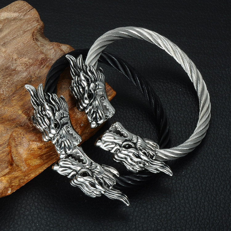 Men's Silver Double Dragon Heads Adjustable Stainless Steel Wire Bracelet