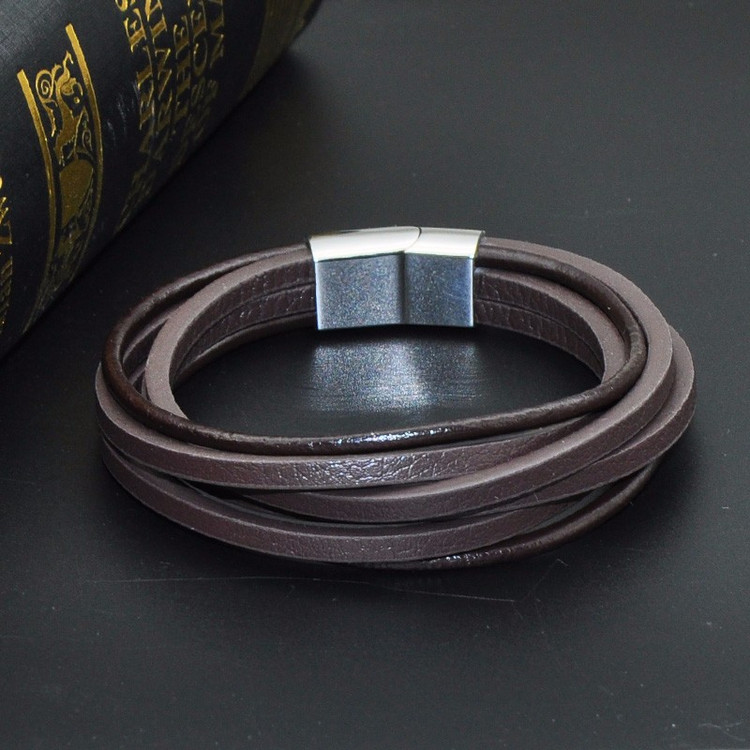 Men's Stainless Steel Magnetic Clasp Black Multilayer Leather Rope Bracelet