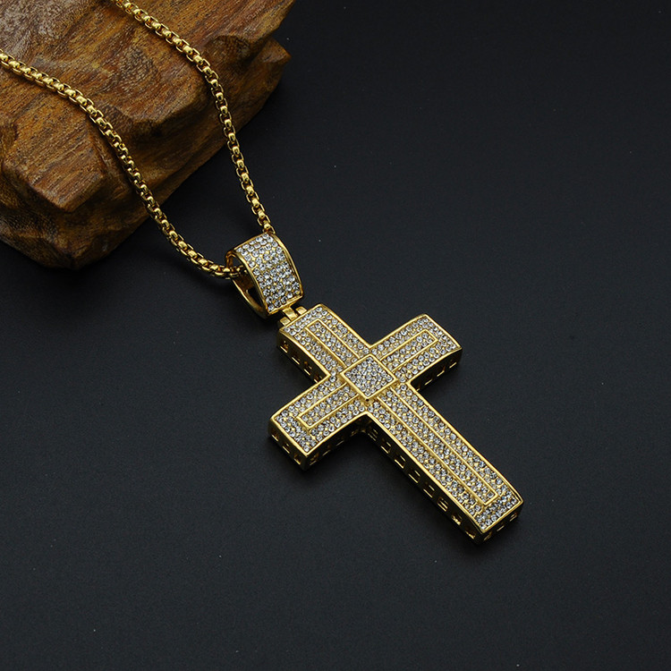 Hip Hop Micro Pave Full Lab Diamond Stainless Steel Iced Out Double Layer Cross Pendant