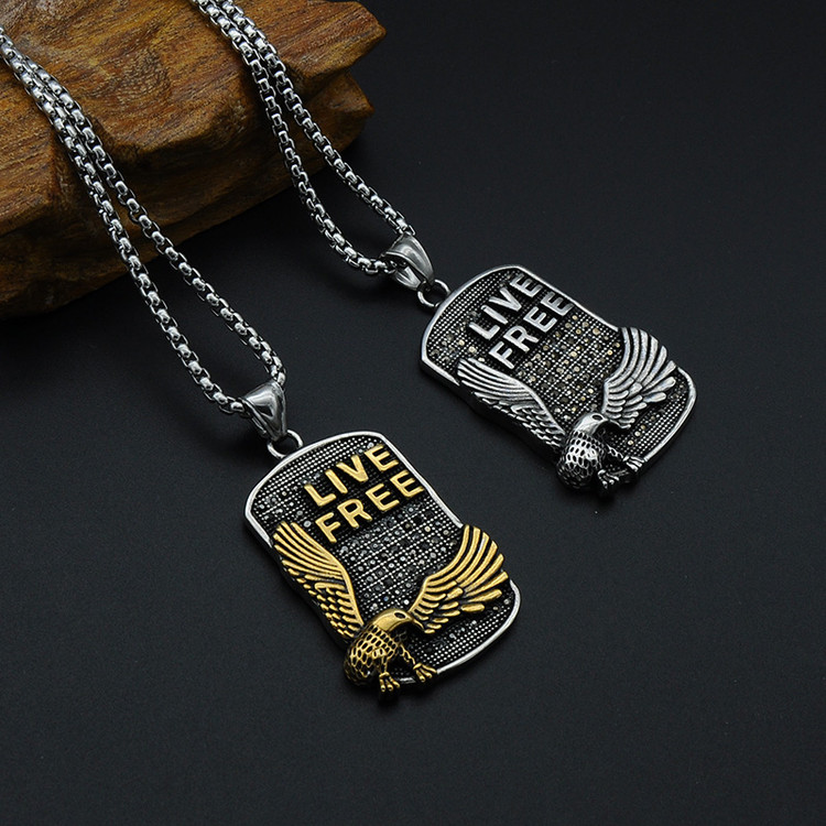 Mens Two Tone 14k Gold Silver Titanium Stainless Steel LIVE FREE Eagle Pendant Chain Necklace