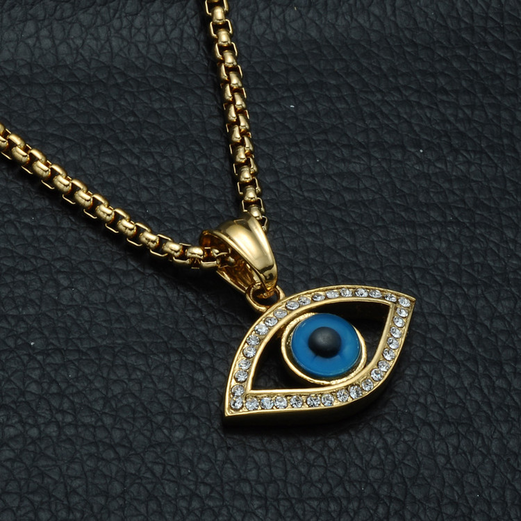14k Gold Iced Out Natural Stone Evil Eye Stainless Steel Hip Hop Bling Pendant Chain Necklace