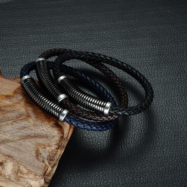 Men's Black Genuine Leather Weave Stainless Steel Spring Magnetic Buckle Bracelet