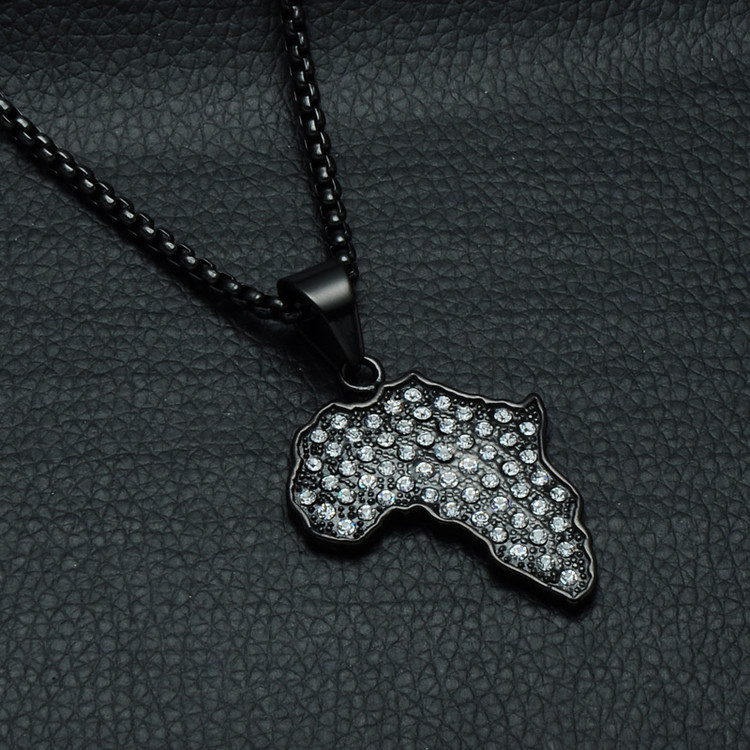 Iced Out Black Stainless Steel Lab Diamond Africa Map Pendant Chain Necklace