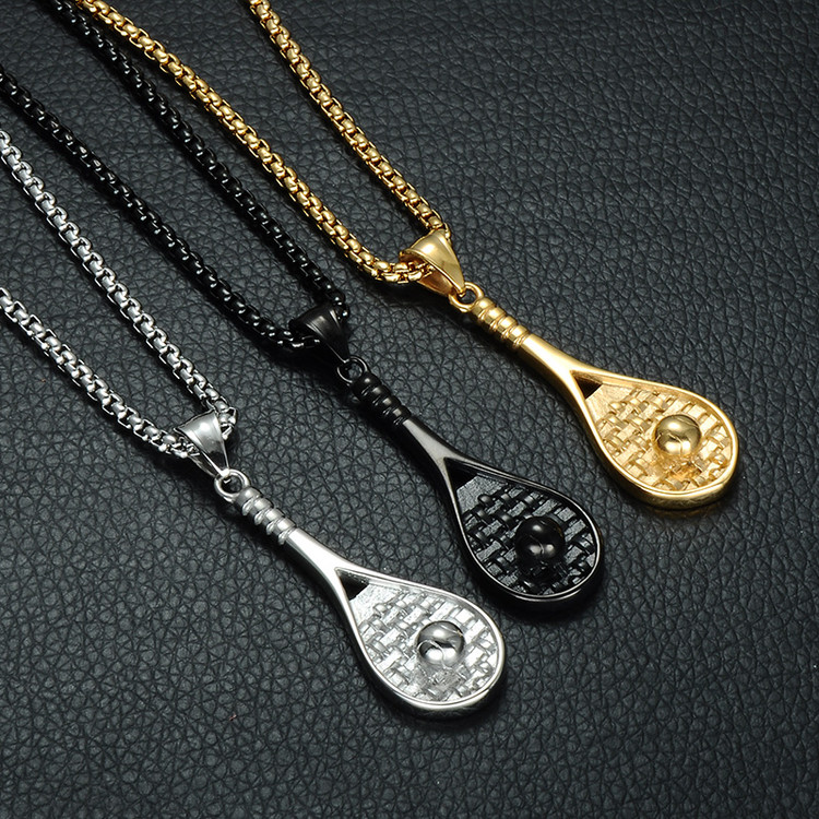 14k Gold Black Silver Stainless Steel Tennis Racket Chain Pendant Necklace