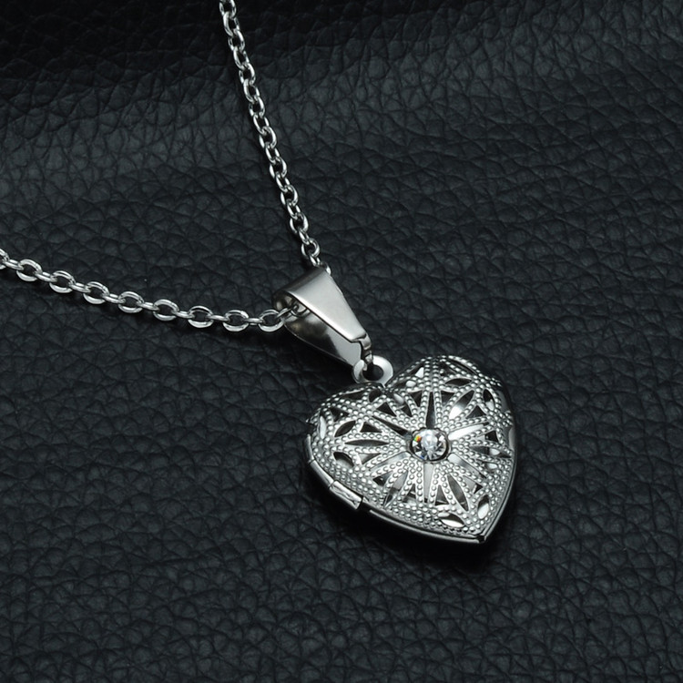 Hollow Heart Photo Locket Pendant Chain