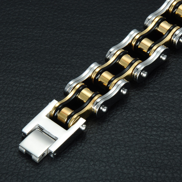 19MM Double Gold Black Silver 316L Stainless Steel Bicycle Bracelet