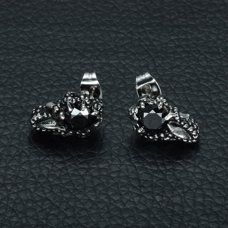 Silver Stainless Steel Dragon Claw Earrings