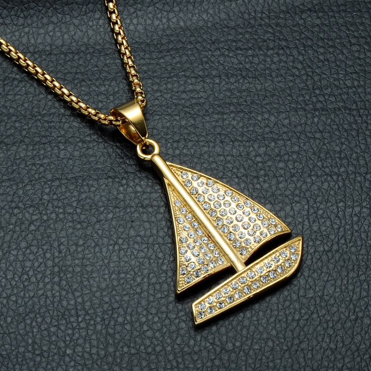 14k Gold Titanium Yacht Sailboat Pendant