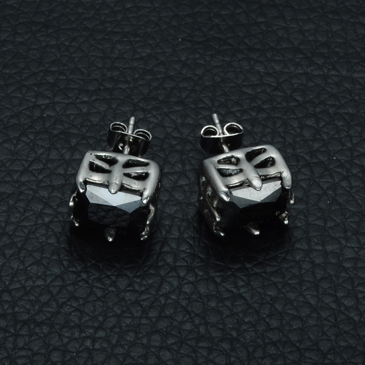 Mens Black Crystal Stud 316L Stainless Steel Simulated Diamond Earrings
