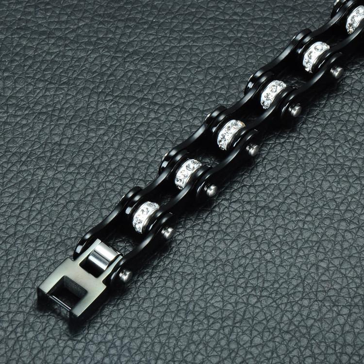 Motor Bike Motorcycle Black Stainless Steel Chain Bracelet