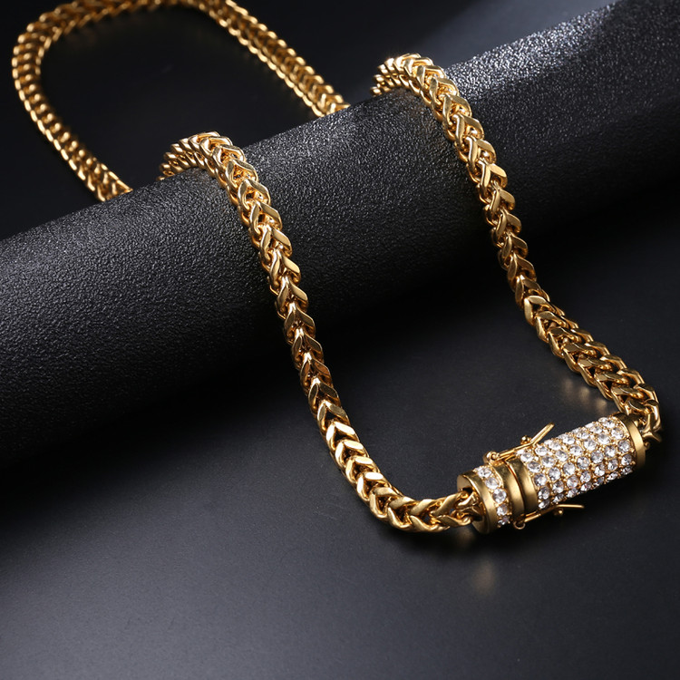 Silver Stainless Steel Iced Out Lab Diamond Franco Cuban Chain