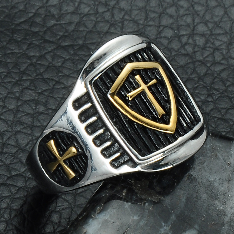 Two Tone Gold Armor Crusader Cross Ring