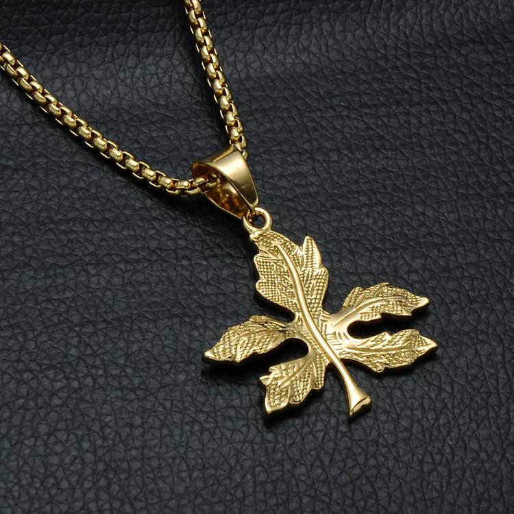 14k Gold Weed Leaf Hip Hop Bling Pendant
