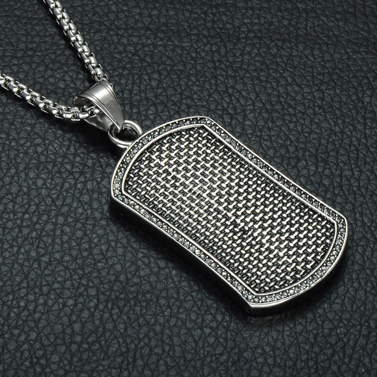 Hounds Tooth Square Silver Stainless Steel Lab Diamond Dog Tag