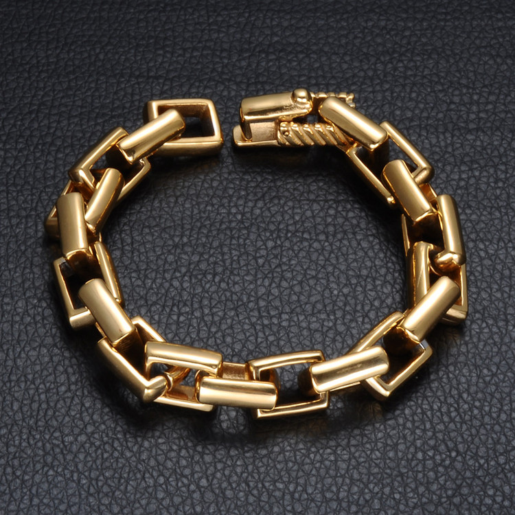 14k Gold Bling Stainless Steel Bracelet