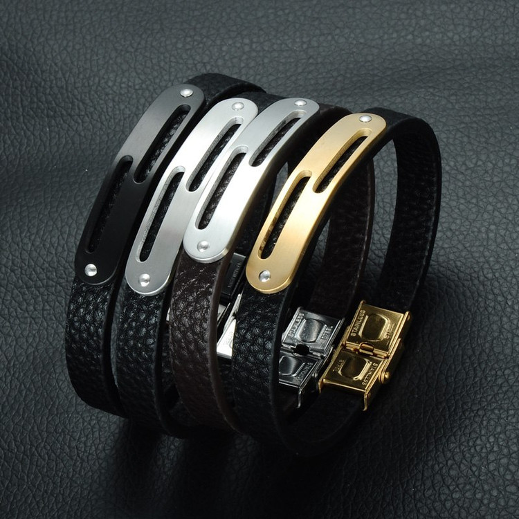 Genuine Leather Double Squared Bracelet