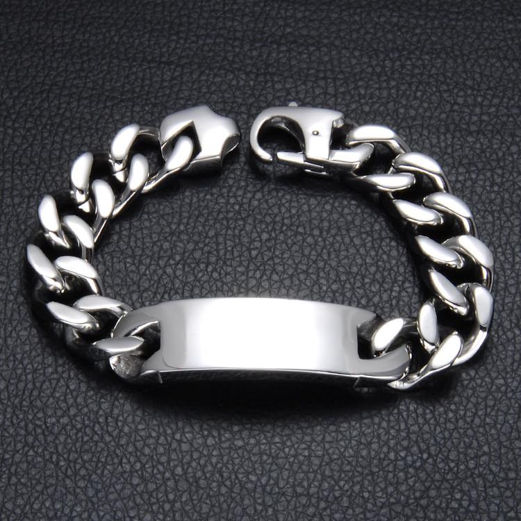 Stainless Steel ID Style Silver Cuban Link Chain Bracelet