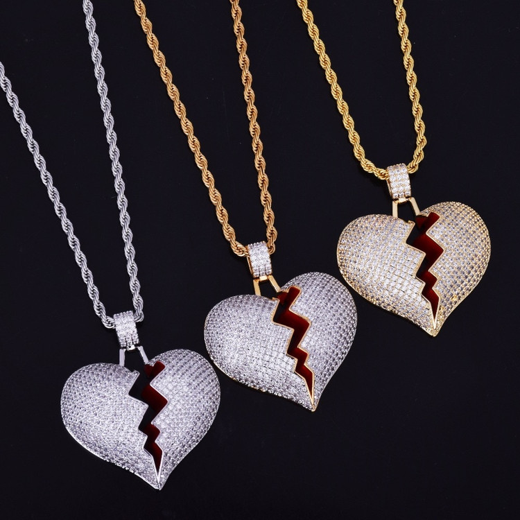 Lab Diamond Bling 14k Gold Silver Heart Breaker Chain