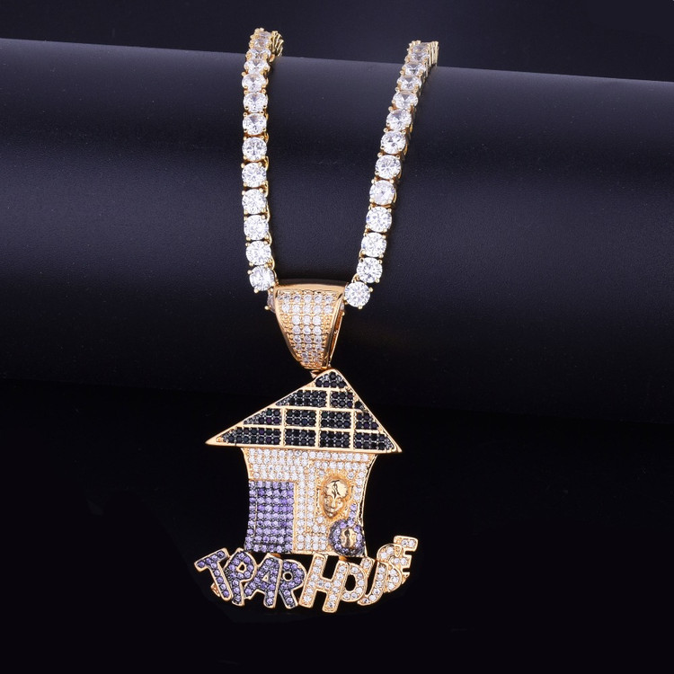 Hip Hop Multi Color Iced Out Trap House Lab Diamond Bling Pendant Chain Necklace