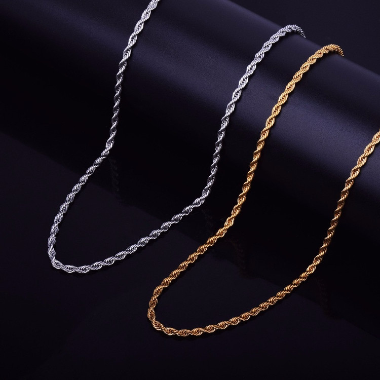 14k Gold Silver Stainless Steel 3mm Rope Link Chain
