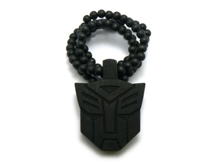 Black Wood Transformers Hip Hop Pendant Beaded Chain