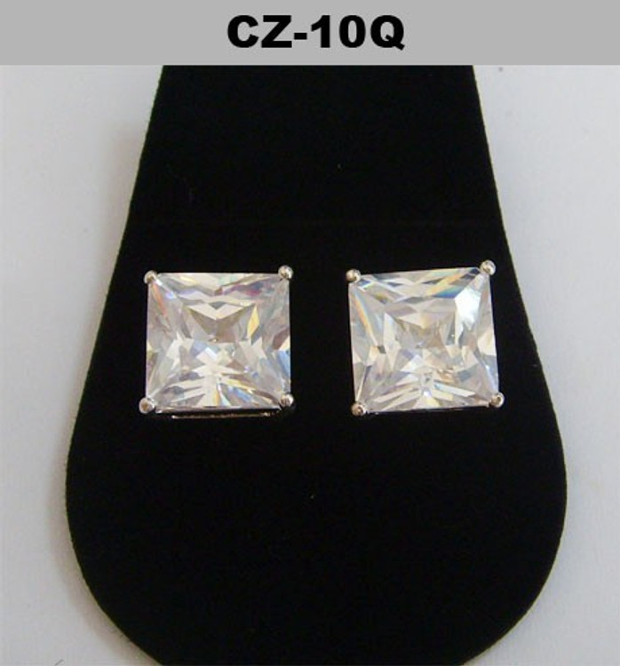 Silver 10mm Princess Cut Iced Out Diamond Cz Earrings