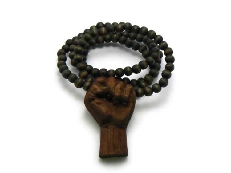 Black Power Fist Wooden Hip Hop Pendant w/ Chain