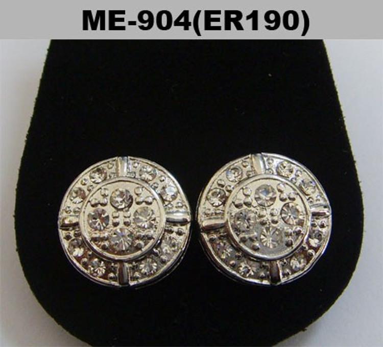 Circle Shield Hip Hop Bling Rhodium Silver Earrings
