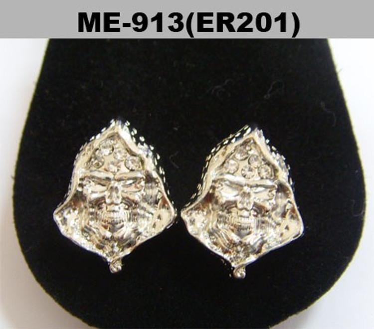 Cloaked Skeleton Skull Rhodium Silver Diamond Cz Bling Earrings